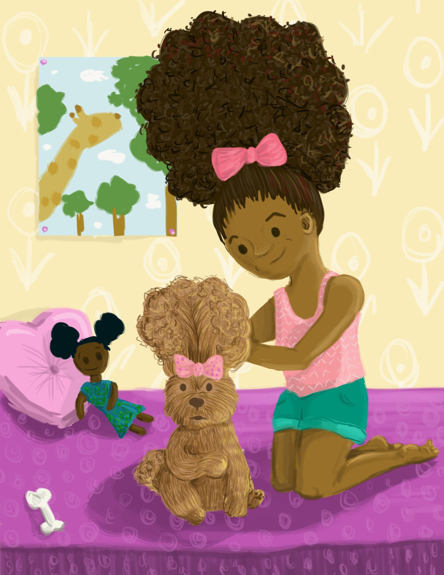 Young Black Girl Illustration Big Hair Don't Care